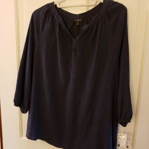 Talbots Navy Blouse New With Tags Petite Medium
